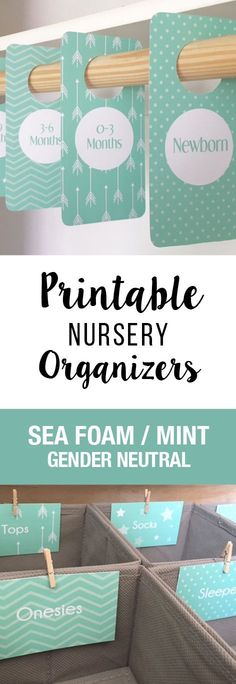 All these extra tags I love it. PRINTABLE Sea Foam Green and Mint Colored Closet Dividers and Drawer Labels! So cute for a gender neutral nursery or a baby shower gift.