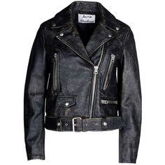 Acne Studios Mock Scratch Leather Jacket ($1,540) ❤ liked on Polyvore