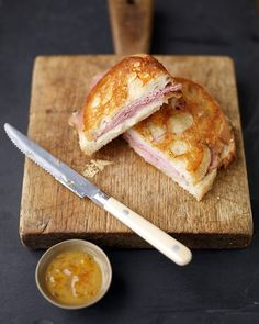 The apricot-mustard dipping sauce is what makes this grilled ham-and-cheese special.
