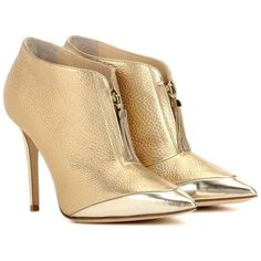 Jimmy Choo Tessa 100 Metallic Leather Ankle Boots ($940) ❤ liked on Polyvore featuring shoes, boots, ankle booties, heels, ankle boots, booties, gold, leather booties, metallic booties and short boots