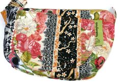 Little Purse with Adjustable Strap and  Zipper Bags, Purses, Hand Bags, Shoulder bag - Stripes of Flowers by HandmadebyNancie on Etsy