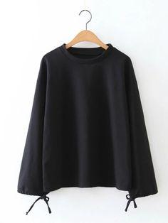 #AdoreWe #JustFashionNow Shirts & Blouses - Designer yinbo Black Abstract Printed Crew Neck Basic Blouse - AdoreWe.com