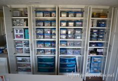 """From the blog """"Infarrantly Creative,"""" half of her cabinets. Isn't she nice to give us a peek inside? More explanation at the source."""