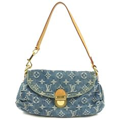 LOUIS VUITTON Monogram Denim Pleaty Shoulder Bag M95050 Used F/S