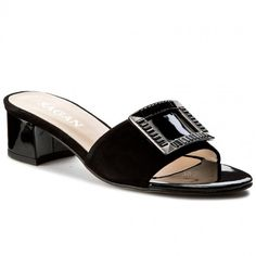 Șlapi SAGAN - 2883 Czarny Welur/Ciemny Nikiel Heeled Mules, Sandals, Metal, Shoes, Fashion, Moda, Shoes Sandals, Zapatos, Shoes Outlet
