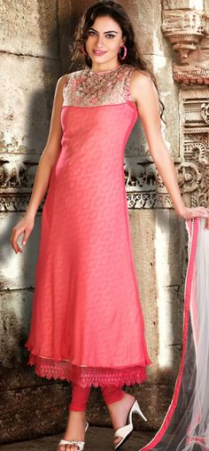 Chick pink and offwhite georgette churidar: KSL2607