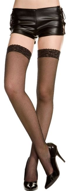 Plus Size Gothic Fishnet Thigh Hi with Lace Top [4905Q] - $4.99 : Mystic Crypt, the most unique, hard to find items at ghoulishly great prices!