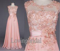 Long A-line Pink Applique Sleeveless Floor-length Chiffon Prom Dress Party dress prom dress Celebrity dress cocktail dress Bridesmaid