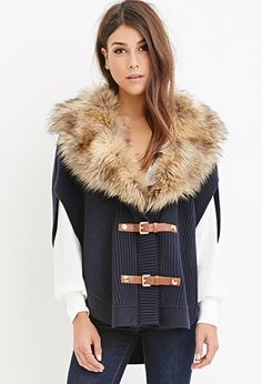 Contemporary Faux Fur Ribbed Poncho | LOVE21 - 2000141451