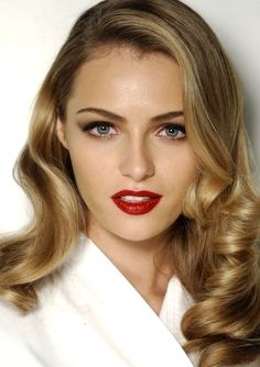Curls + Red Lips.