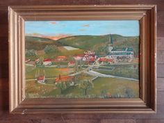 Vintage French Rural Rustic Countryside Village Field Church Leclerc Framed Oil Painting circa 1959 Purchase in store here http://www.europeanvintageemporium.com/product/vintage-french-rural-rustic-countryside-village-field-church-leclerc-framed-oil-painting-circa-1959/