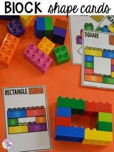 Shape lego cards plus more 2D Shapes activities for preschool, pre-k, and kindergarten. Shape mats (legos, geoboards, etc), play dough mats, posters, sorting mats, worksheets, & MORE.