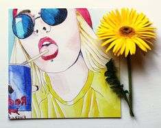 'Summertime Selfie' by pop artist Idle Sappho This is a fine art giclée print of an original pen and watercolour painting. The artwork is printed using archival quality inks and paper and each print is hand-signed on the back. Pen And Watercolor, Watercolour Painting, Cool Paintings, Character Art, Giclee Print, Summertime, Pop Art, Artsy, Valentines
