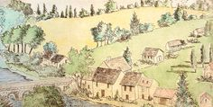 French Village by a River, etching by Nancy Wilson