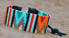 Native American inspired Tribal loom beaded bracelet in Turquoise, Orange, Red…