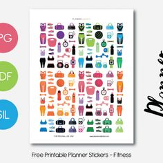 Free Printable Planner Stickers - Fitness