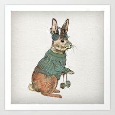 Rabbit Art Print by David Fleck - $18.00
