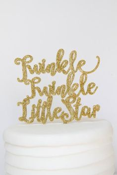 "Twinkle Twinkle Little Star Cake Topper Made from a high quality acrylic plastic that is food safe. It is made from 1/8"" acrylic and a perfectly fit to a 6 inch"