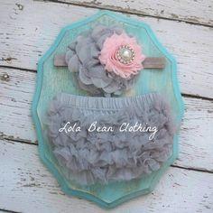 Baby Girl TuTu Bloomers Chiffon Ruffle Diaper Cover Grey Gray Pink Flower Headband Set Newborn Photography Prop 0 3 6 9 12 18 months