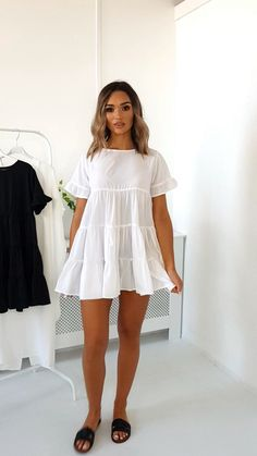 Frill Shift Dress Milly Frill Shift Dress Milly Frill Shift Dress Genius DIYs Everyone Should Know! DIY and crafts Clothes, Genius, diys Gorgeous Outfit Ideas For Your Next Event Shop the Hyacinth Ruffle Sleeve Smock Dress Beige White Dress Outfit, Cute White Dress, White Dress Summer, Summer Dress Outfits, The Dress, Short White Dresses, White Dress Casual, White Babydoll Dress, Beautiful Summer Dresses