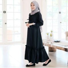 Code : Aswad Dress Price : Rp / IDR Bahan : Balotelli Size : All s. Street Hijab Fashion, Abaya Fashion, Grey Fashion, Muslim Fashion, Hijab Style Dress, Dress Outfits, Fashion Outfits, Dresses, Hijab Trends