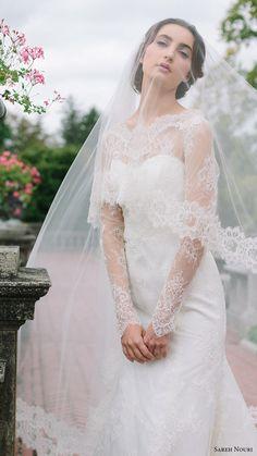 SAREH NOURI BRIDAL FALL 2016 • LONG SLEEVES •  SWEATHEART ILLUSION •  Jewel Neck lace wedding dress (miriam) zv elegant romantic