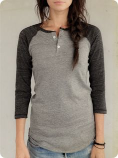 Womens Long Sleeve | 3/4-Sleeve Raglan Henley | Alternative Apparel