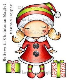 "La La Land Crafts RETIRED ""Paper Doll Marci-Christmas Elf (with sentiments)"" Rubber Stamp"