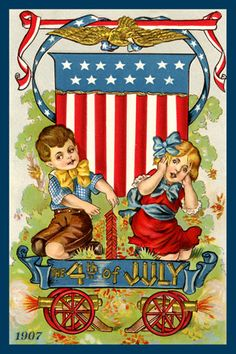Children 4th of July - 1907 Postcard. Quilt Block printed on cotton. Ready to sew.  Single 4x6 block $4.95. Set of 4 blocks with free Wall Hanging Pattern $17.95.