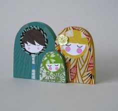 Wood Matryoshka Russian Nesting Doll Family