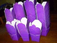 Purple take out boxes for candy bar - add monogram sticker to customize it