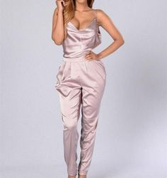 Sexy backless romper women pink satin jumpsuit