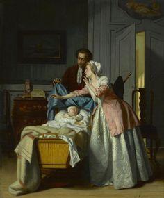 Jean Carolus (Belgian, 1814-1897), Hush - an 18thC inspired Victorian painting.