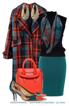 "OUTFIT ONLY Plaid Coat Contest: ""Teal & Orange"" by enjoyzworld on Polyvore featuring polyvore, fashion, style, Cruciani, Christian Louboutin, Alexander McQueen, Michael Kors and clothing"