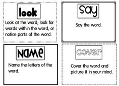 I created this chart to give students another strategy to use when spelling words. We have been using HAVE A GO and now we learned LOOK Say name cover write check.  I made these little sheets to have student practice on their own. These are the words that we are still learning or have not yet learned.