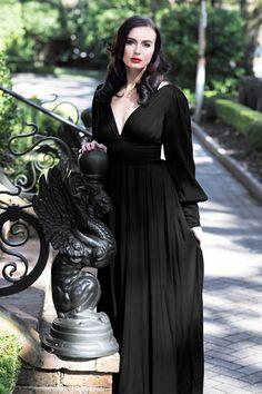 skirt Bianca Long Dress - Black Satin Trashy D - Black Witch Dress, Witchy Dress, Black Satin Dress, Black Dress With Sleeves, Dresses With Sleeves, Gothic Formal Dresses, Gothic Dress, Dress Formal, Gothic Lolita