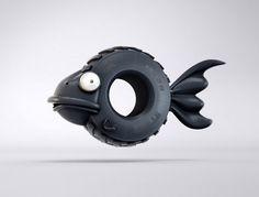 #food #taste #fish #tire #gum #illustration Food Taste Like Food by Gabriel Bueno