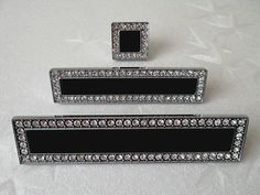 "3.75"" 5"" Black Glass Dresser Pulls Drawer Pull Handles Crystal Cabinet Door Handle Rhinestone Clear Silver Kitchen Cupboard Bling 96 128 mm by ARoseRambling on Etsy https://www.etsy.com/listing/166275452/375-5-black-glass-dresser-pulls-drawer"
