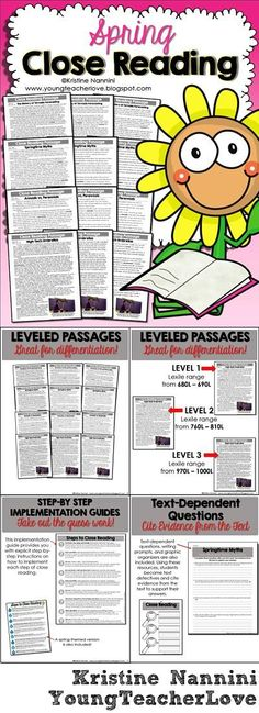 Reading Comprehension Passages and Questions - Work on reading strategies with your upper elementary 3rd, 4th, 5th, or 6th grade classroom or homeschool students. You get differentiated reading passages, text dependent questions, graphic organizers, posters, and more. Topics include annuals vs perennials, umbrellas, springtime myths, and tornado forecasting. (third, fourth, fifth, sixth graders) #ReadingComprehension SpringCloseReading 4th Grade Reading, Student Reading, Teaching Reading, Guided Reading, Teaching Ideas, Learning, Reading Lessons, Reading Resources, Reading Strategies