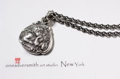 Solid Sterling Silver Cherub Baby Guardian Angel Charm Pendant Necklace With Box-onesilversmith art studio