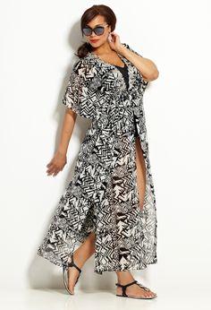 Embellished Chiffon Maxi Swim Cover-Up | Plus Size New Swimwear | Avenue