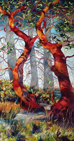Cori Creed - Arbutus Duet quilt by lucy Landscape Art Quilts, Illustration Art, Illustrations, Tree Quilt, Quilt Art, Art Textile, Artwork Display, Applique Quilts, Art Plastique