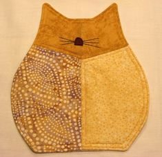 Yellow Tabby FAT CATS Quilted Mug Rugs Trivets by DollPatchworks, $22.00