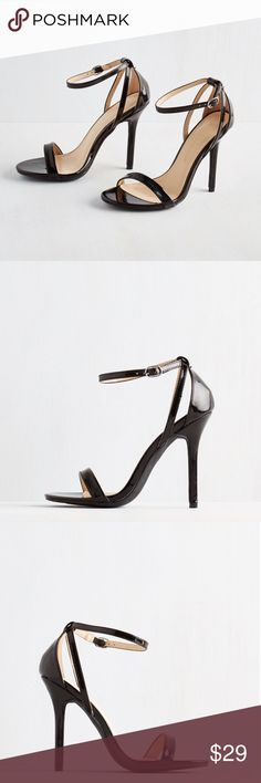 """Think Posh-itive Heel in Noir Midnight black heels that are sleek and sophisticated! Patent vegan faux leather stilettos with crisscrossing straps and silver adjustable buckle closure. Heel measures 4.5"""". All man made materials. Brand new in box. ModCloth Shoes Heels"""