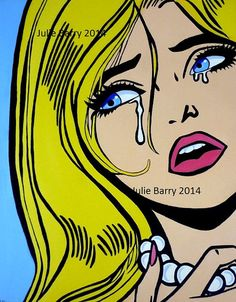Art Print from Original Painting Pop Art Comic girl crying 10 x 8 by Julie Barry on Etsy, $16.94 AUD