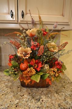 Fall Arrangement With Bird by kristenscreations on Etsy, $65.00 16x21