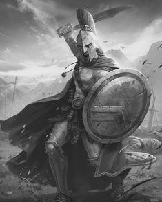 Poseidon Tattoo, Greek Warrior, Fantasy Warrior, Sparta Tattoo, Medieval Tattoo, Gladiator Tattoo, Greek Soldier, Greek Mythology Tattoos, Knight Tattoo