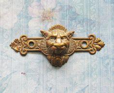Figural Gargoyle Escutcheon Antique Lion King by FOUNDLINGS