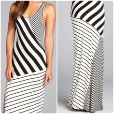 Black & White Striped Maxi Dress Sleeveless black and white striped maxi dress. Fitted silhouette. This dress is a versatile, stylish choice. 96% rayon & 4% spandex Romeo & Juliet Couture Dresses Maxi