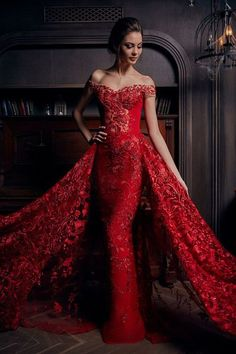 Prom Dress Beautiful, 2019 Lace Off The Shoulder Mermaid Prom Dresses Court Train Detachable, Discover your dream prom dress. Our collection features affordable prom dresses, chiffon prom gowns, sexy formal gowns and more. Find your 2020 prom dress Mermaid Evening Dresses, Formal Evening Dresses, Formal Gowns, Red Evening Gowns, Mode Glamour, Red Wedding Dresses, Red Mermaid Wedding Dress, Party Dresses, Wedding Gowns